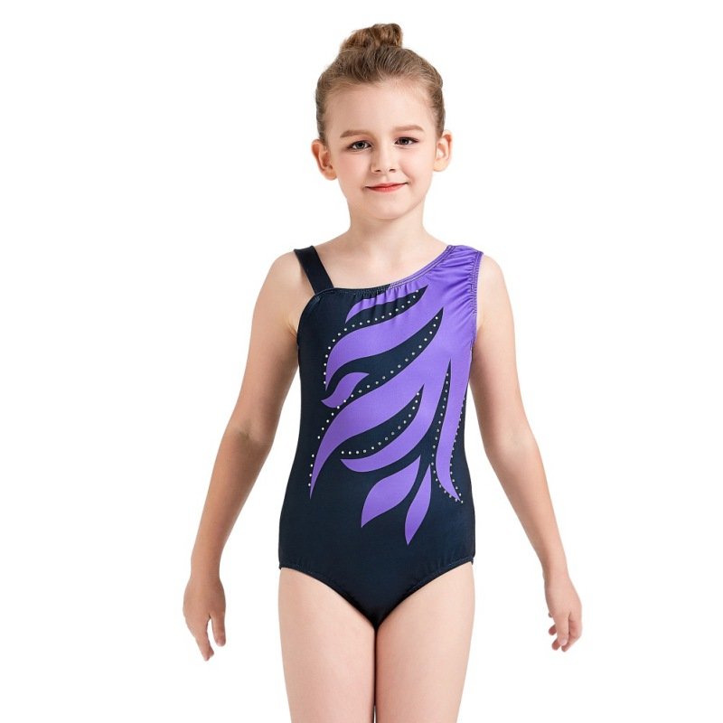 Youth-Girl-Ballet-Gym-Leotards-Flame-Print-Shiny-Sleeveless-Unitard-Skating-Suit thumbnail 21