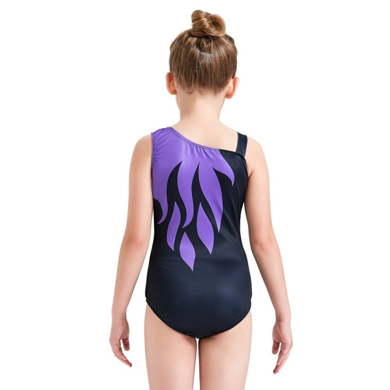 Youth-Girl-Ballet-Gym-Leotards-Flame-Print-Shiny-Sleeveless-Unitard-Skating-Suit thumbnail 22