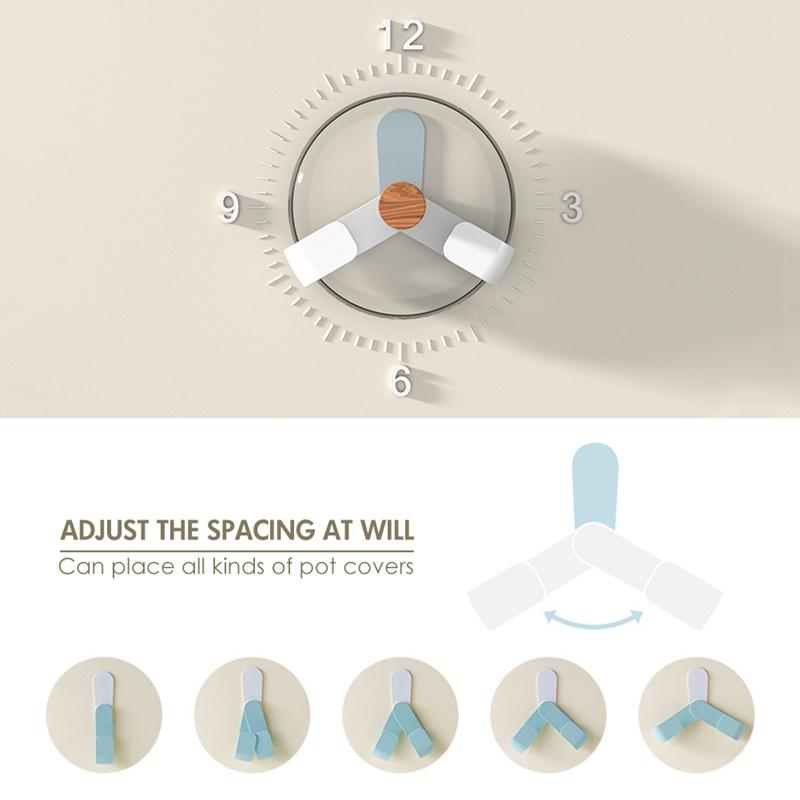 Kitchen-Rotatable-Pot-Storage-Rack-Folding-Wall-mounted-Storage-Sticky-Hangers thumbnail 8