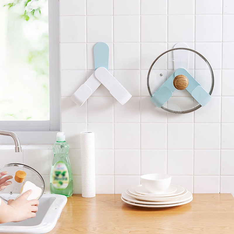 Kitchen-Rotatable-Pot-Storage-Rack-Folding-Wall-mounted-Storage-Sticky-Hangers thumbnail 7
