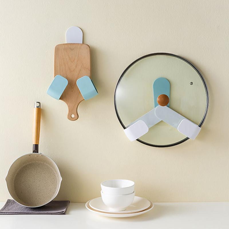 Kitchen-Rotatable-Pot-Storage-Rack-Folding-Wall-mounted-Storage-Sticky-Hangers thumbnail 6