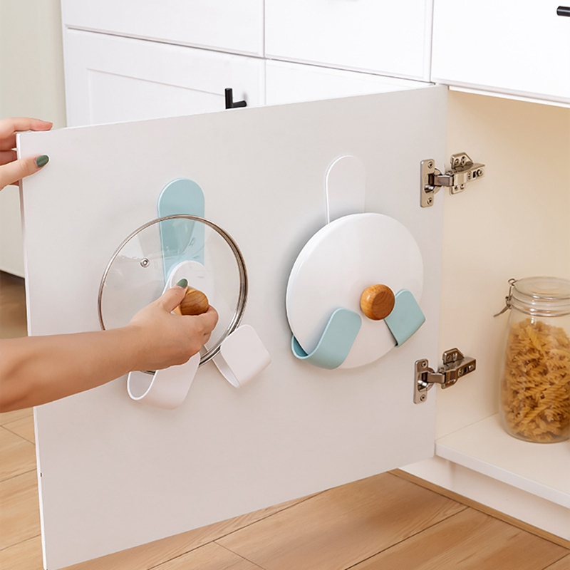 Kitchen-Rotatable-Pot-Storage-Rack-Folding-Wall-mounted-Storage-Sticky-Hangers thumbnail 4