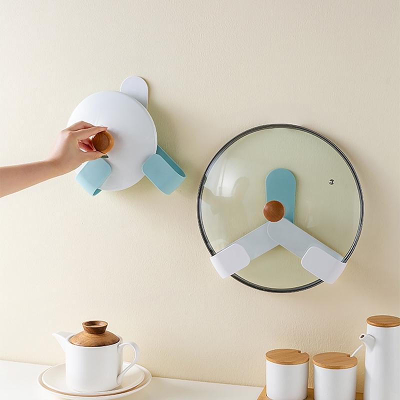 Kitchen-Rotatable-Pot-Storage-Rack-Folding-Wall-mounted-Storage-Sticky-Hangers thumbnail 2