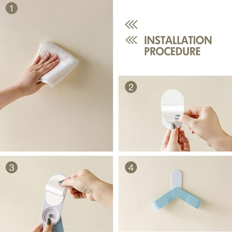 Kitchen-Rotatable-Pot-Storage-Rack-Folding-Wall-mounted-Storage-Sticky-Hangers thumbnail 5