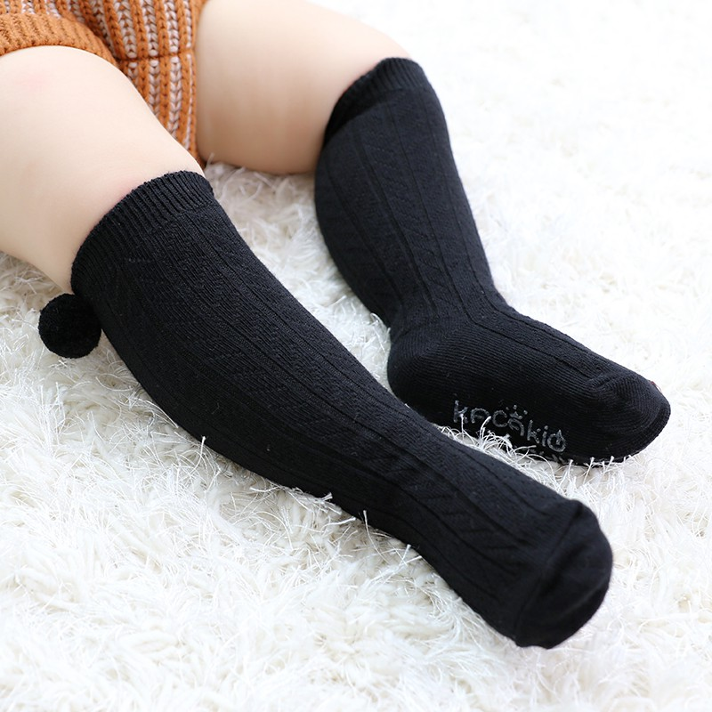 UK Baby Boys Girls Warm Pom Romany Socks Cute Stretch  Soft Knee-Length Socks