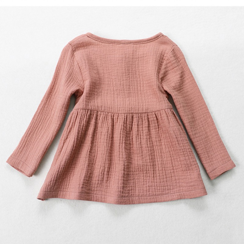 b37a11fa3d9 Kids Baby Girls Long Sleeve Cotton Linen Blouse Tops Princess Casual ...