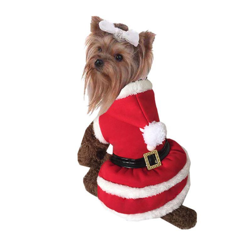Pet-Dog-Santa-Shirt-Puppy-Christmas-Clothes-Warm-Jacket-Coat-Apparel-Costumes-US thumbnail 14