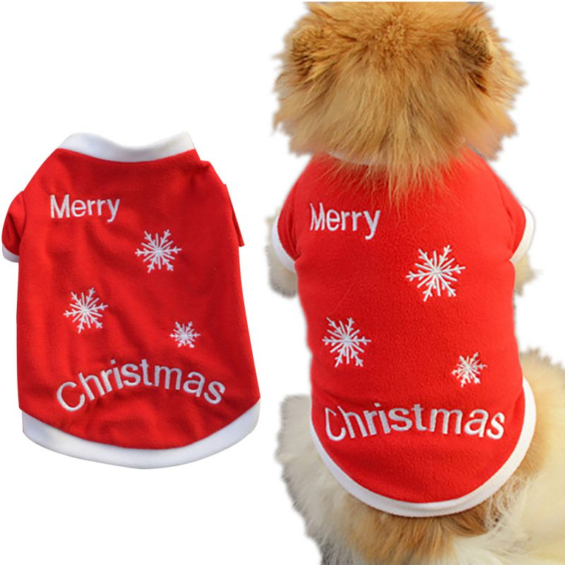 Pet-Dog-Santa-Shirt-Puppy-Christmas-Clothes-Warm-Jacket-Coat-Apparel-Costumes-US thumbnail 20