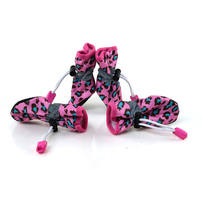 4pcs-Waterproof-Pet-Dog-Rain-Shoes-Cat-Boots-Socks-Puppy-Anti-slip-Leopard-Boots