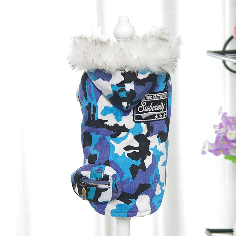 Pet-Dog-Camo-Hoodie-Thickened-Coat-Puppy-Winter-Warm-Padded-Jacket-Outwear-New thumbnail 9