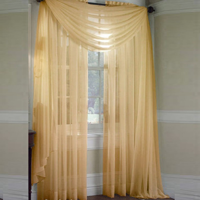Sheer Curtain Window Curtains Scarves Bedroom Voile Drape ...