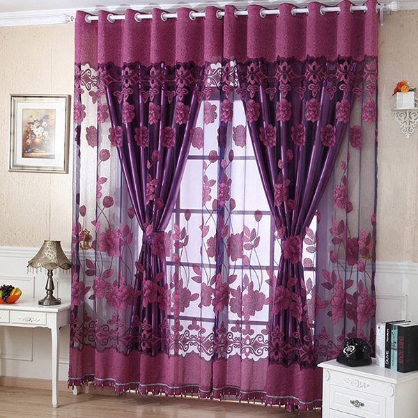 Luxury Flower Embroidered Transpa Sheer Voile Curtain Tulle