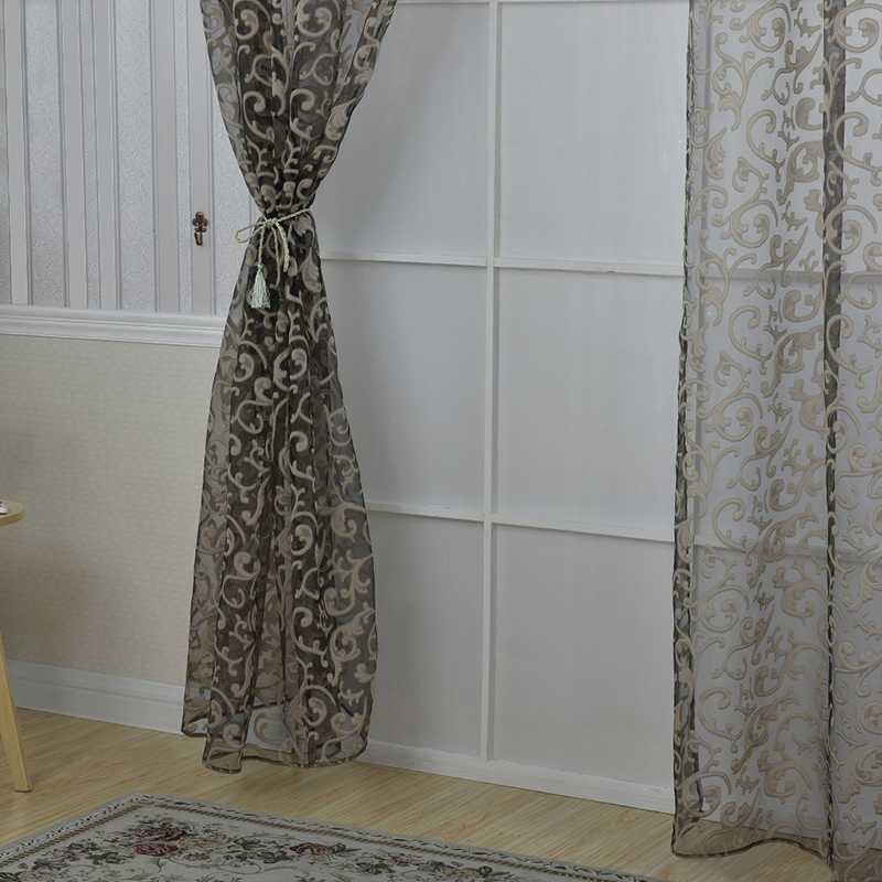 Uk floral pattern voile room window curtain sheer panel for Patterned sheer curtain panels