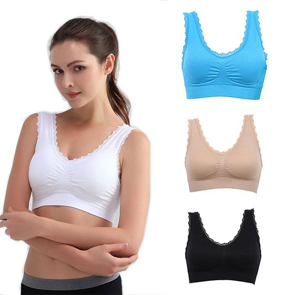 ec707be234963 Women Padded Sports Bra Seamless Underwear Fitness Yoga Stretch ...
