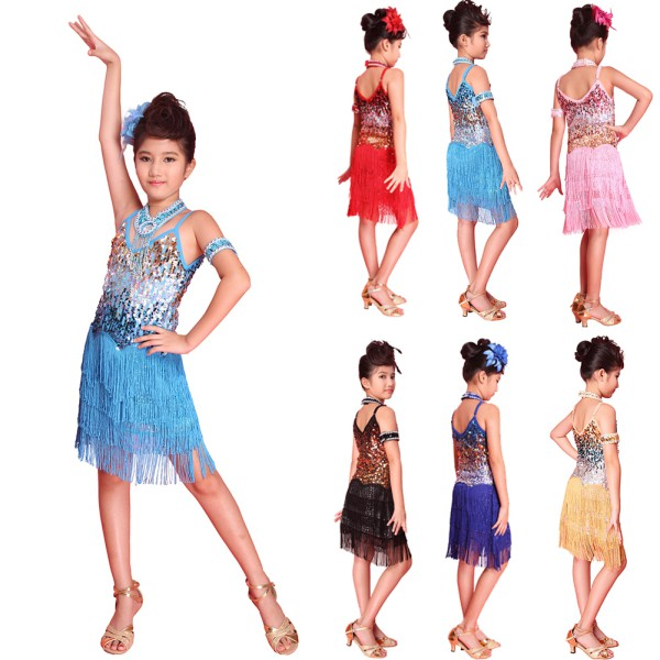 a9b4e769e1122 Details about Child Kids Girls Tassel Latin Dancewear Dress Party Dance  Sequined Dress Costume