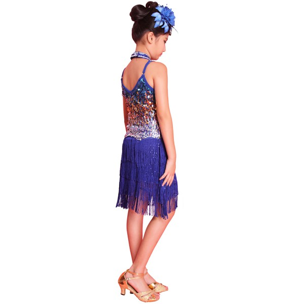 12ac3e36c178 Children Baby Girls Latin Dance Dress Tango Sequin Dance Fairy ...