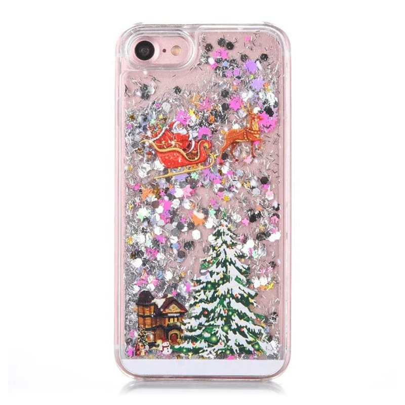Christmas-Glitter-Stars-Bling-Quicksand-Tree-Phone-Cover-Case-For-iPhone-8-8P-X