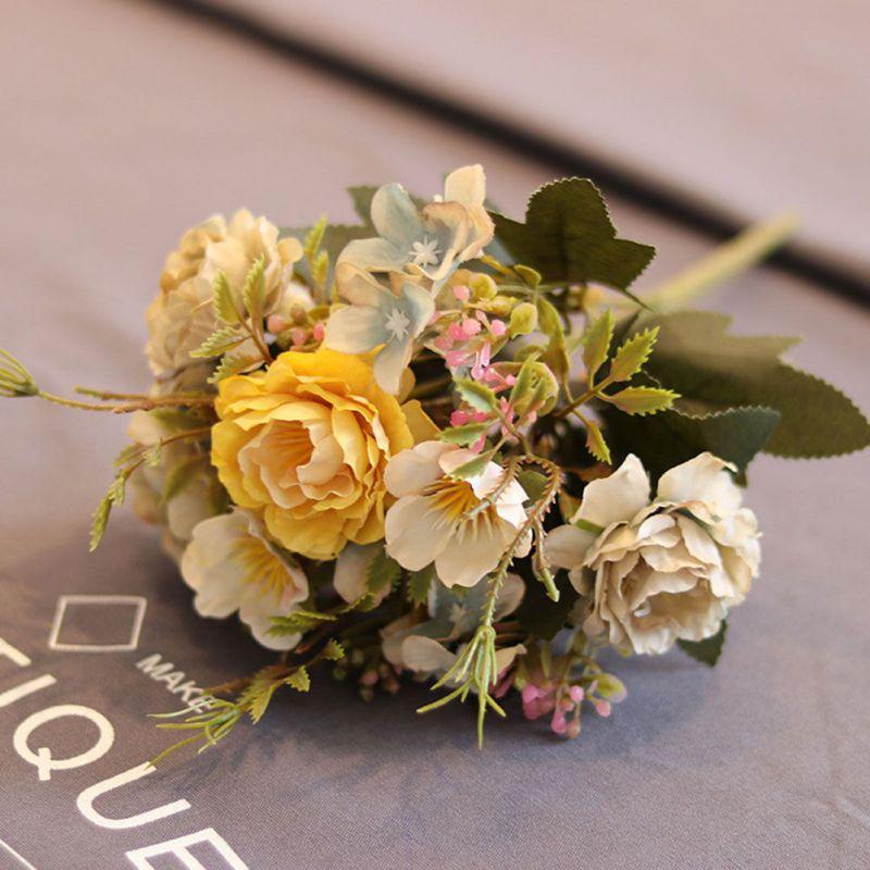 Multi Color Floral Silk Peony Bouquet Faux Flowers Artificial Home
