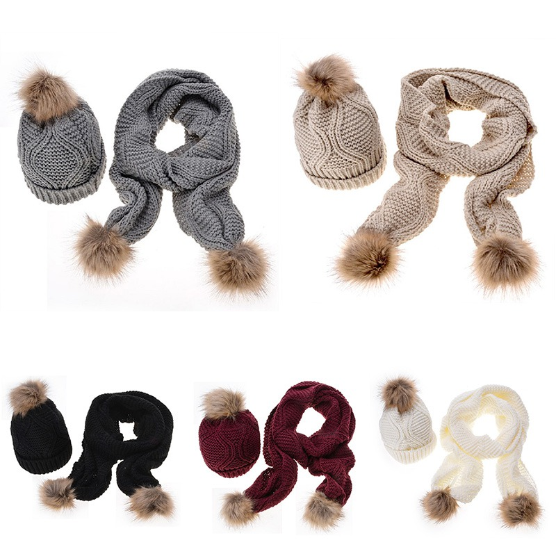 Womens Ladies Wooly Thick Knit Hat Scarf And Gloves Set Knitted