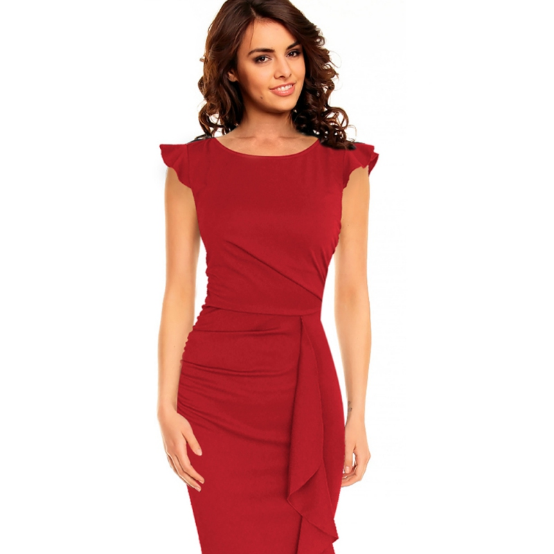 Women-Bodycon-Slim-Short-Sleeve-Casual-Evening-Party-Cocktail-Pencil-Midi-Dress