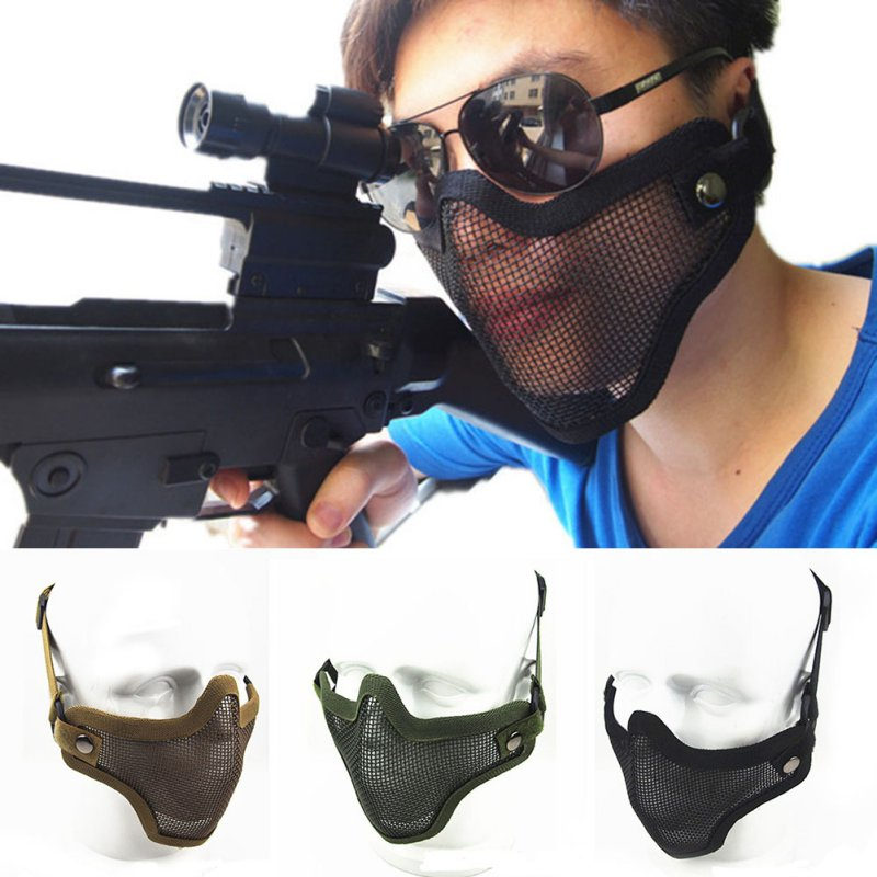 Details about Tactical Airsoft Half Face Mask Army Protective Mask Gears  Steel Mesh Face Cover