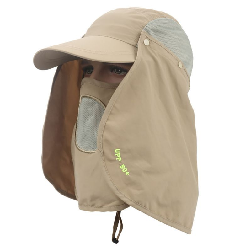 Fishing hiking hunting hat 360 neck cover anti uv ear sun for Fishing neck cover