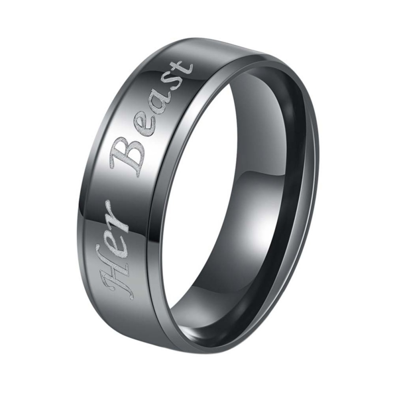 Matching Couple Rings -His Beauty Her Beast Rings Titanium ...