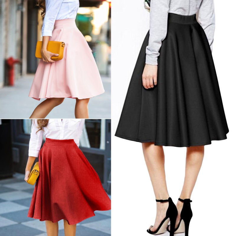 ab4af719e8a Details about Women Flared Knee Length Dress Swing Skater Skirt Lady Midi  Office Skirts S-XL