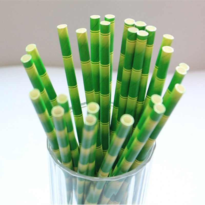 25pcs Biodegradable Paper Drinking Straws Striped Birthday