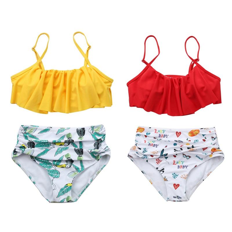bebe320d7d95 Details about Women Print Floral Ruffle Surf Suit Swimwear Two-pieces  Bikini Set Bathing Suit