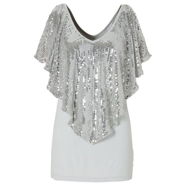 Women Sparkle Glitter Sequin Blouse Short Sleeve T-Shirt Tank Tops Clothes  S-XL  15f377c22889