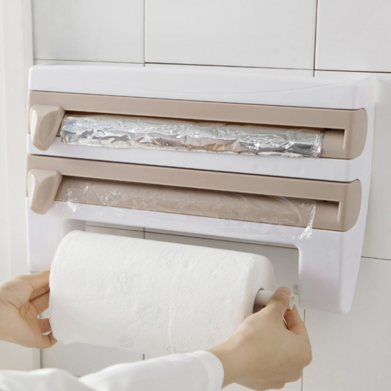 Kitchen Roll Dispenser Cling Film Paper Towel Holder Wall Mounted ...