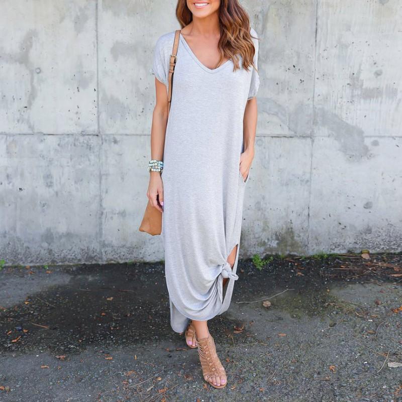 Women Summer Short Sleeve Loose Maxi Dress Casual Evening Party Long Sundress