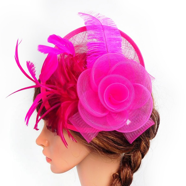 Women-039-s-Fascinator-Hat-Feather-Headband-Cocktail-Party-Wedding-Headpiece-Clip