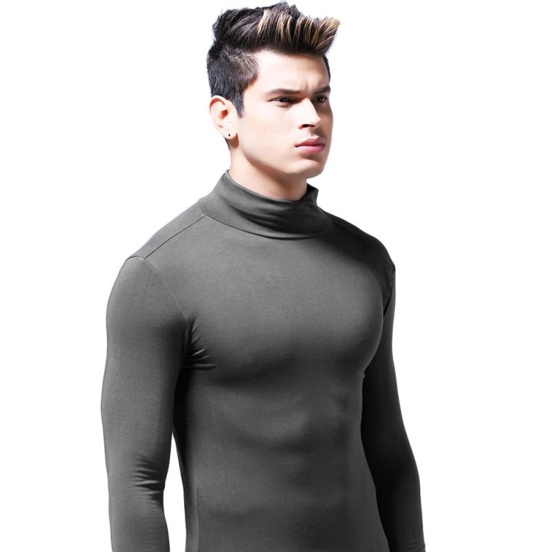 Men-Warm-Long-Sleeve-Turtleneck-Shirts-Underwear-Tailored-Slim-Fit-Tops-Winter thumbnail 10