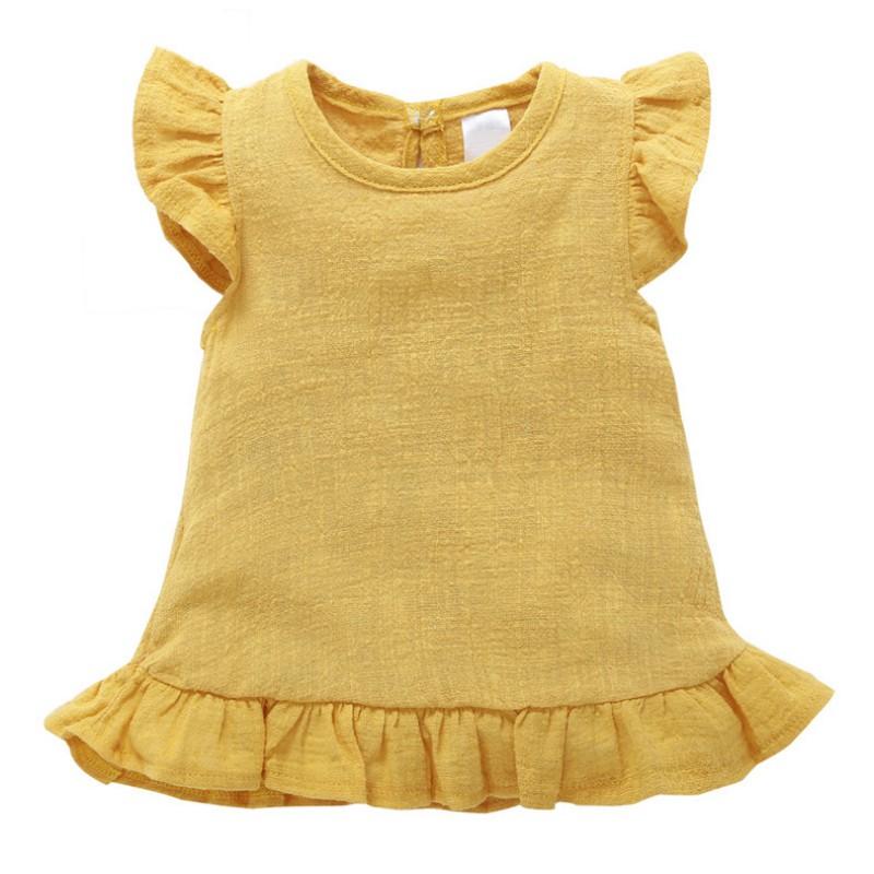 Baby-Girls-Cotton-Linen-Sleeveless-Dress-Princess-Casual-Fly-Sleeve-Tutu-Dress