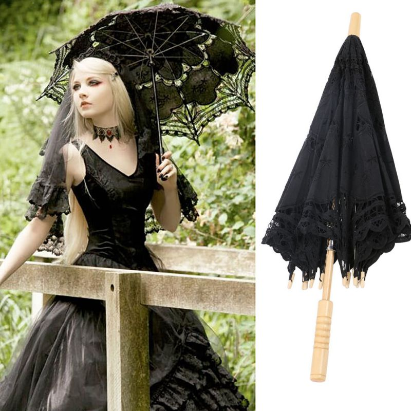 Women's Vintage Handmade Cotton Lace Parasol Umbrella Party Wedding Bridal Props 4