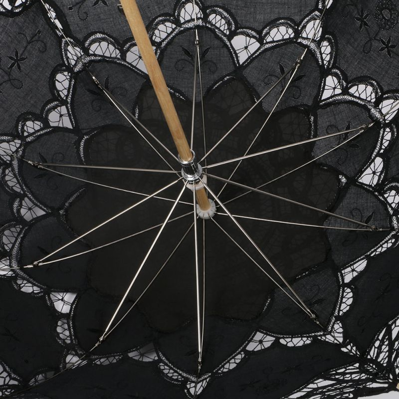 Women's Vintage Handmade Cotton Lace Parasol Umbrella Party Wedding Bridal Props 5