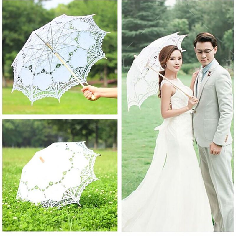 Women's Vintage Handmade Cotton Lace Parasol Umbrella Party Wedding Bridal Props 3