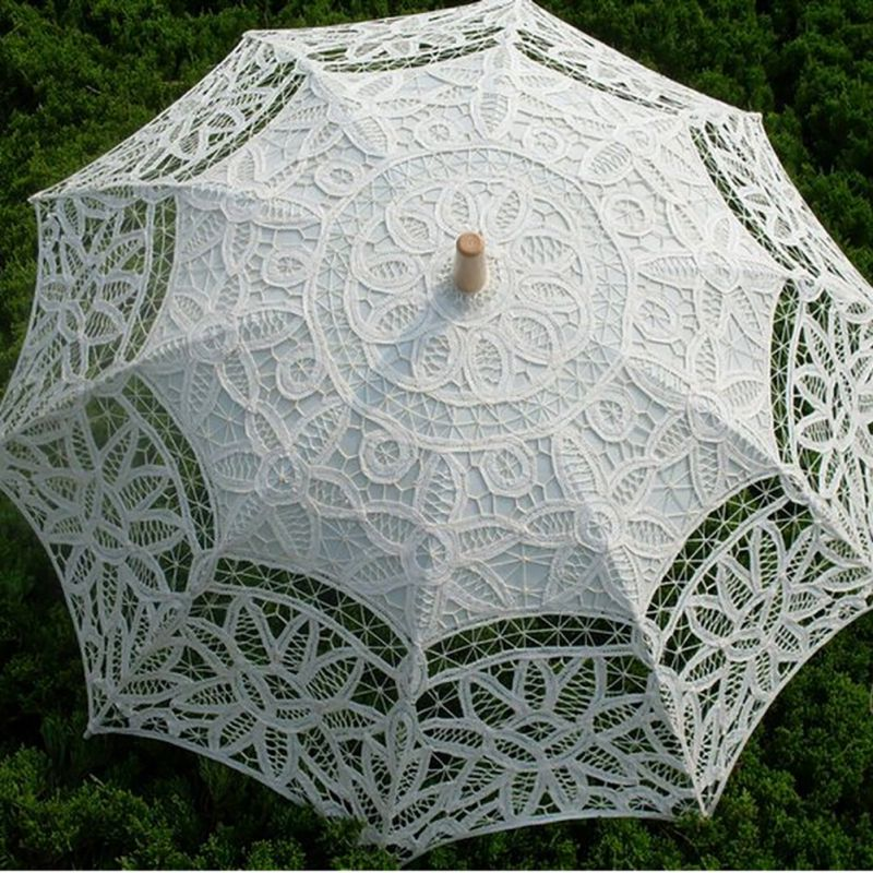 Women's Vintage Handmade Cotton Lace Parasol Umbrella Party Wedding Bridal Props 7