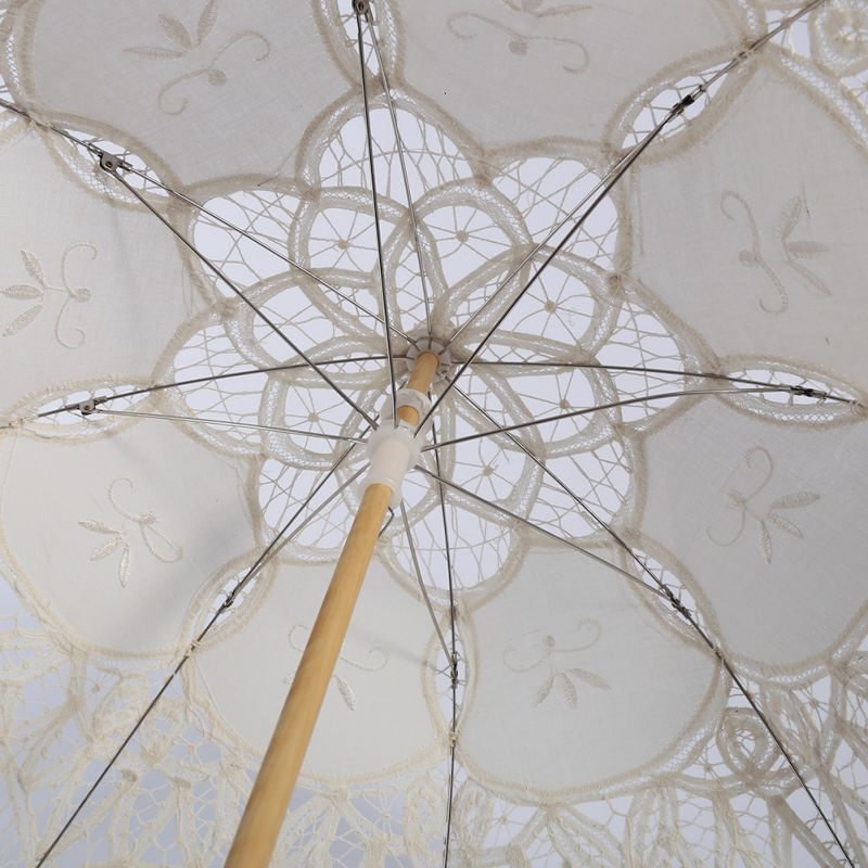 Women's Vintage Handmade Cotton Lace Parasol Umbrella Party Wedding Bridal Props 10