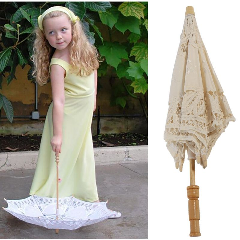 Women's Vintage Handmade Cotton Lace Parasol Umbrella Party Wedding Bridal Props 9