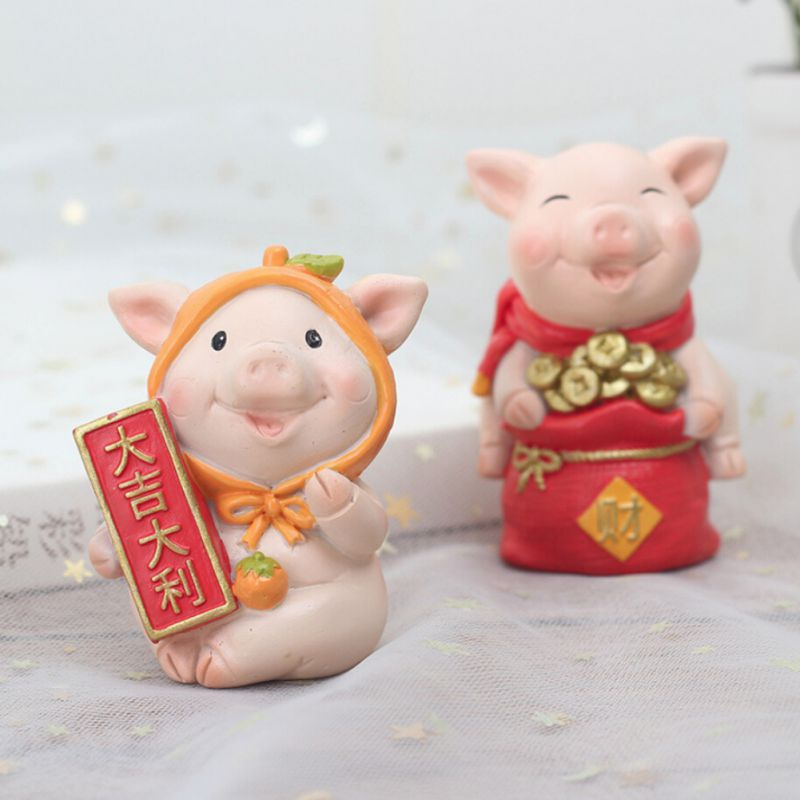 Year-Of-The-Pig-Auspicious-Decoration-New-Year-Cartoon-Resin-Desktop-Gift-Doll thumbnail 12