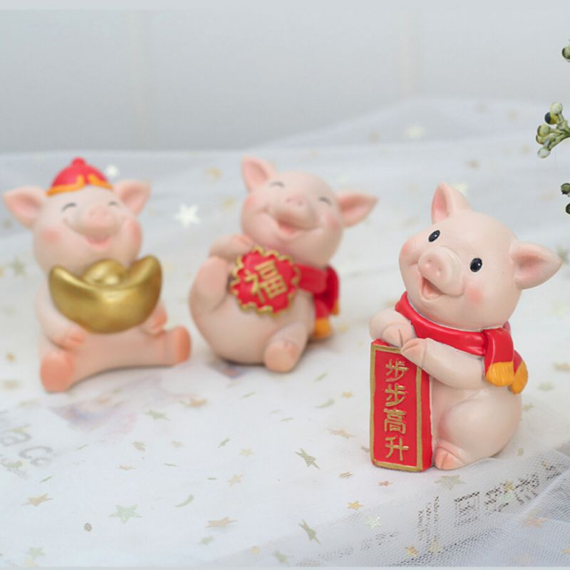 Year-Of-The-Pig-Auspicious-Decoration-New-Year-Cartoon-Resin-Desktop-Gift-Doll thumbnail 13