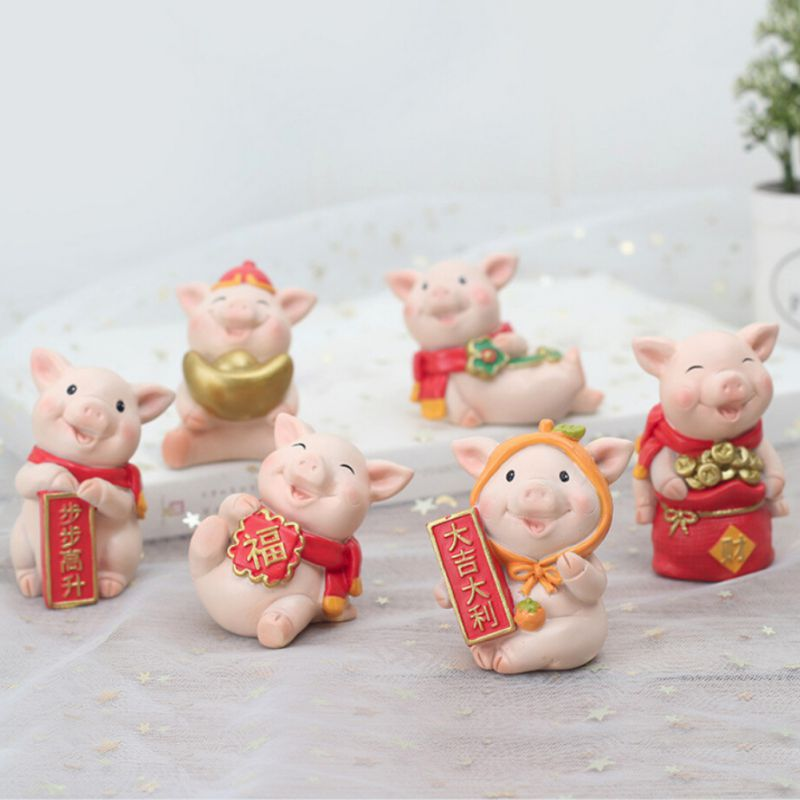 Year-Of-The-Pig-Auspicious-Decoration-New-Year-Cartoon-Resin-Desktop-Gift-Doll thumbnail 14