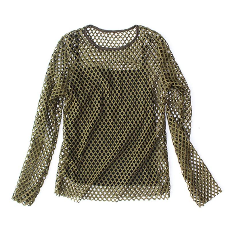 Women girls hollow mesh net t shirts long sleeve tee top for Mesh long sleeve t shirt