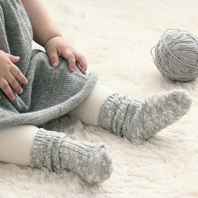 UK Baby Girl Toddler Kids Anti-slip Socks Thermal Winter Knitted Socks 0-4Y Cute