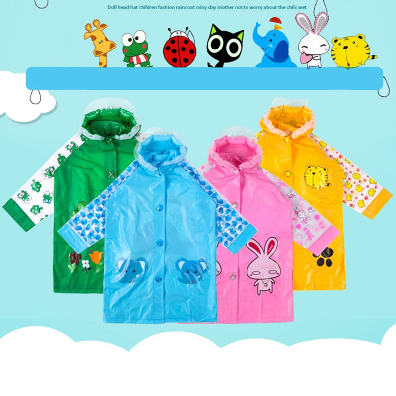 Child Cute Catoon Animal Hooded Rain Coat Jacket Waterproof