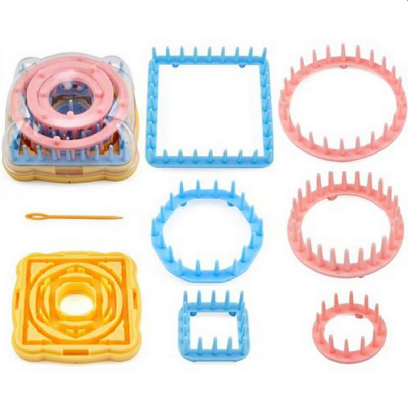 Knitting Loom Kit : Flower knitting loom set patterns tassel kit round square
