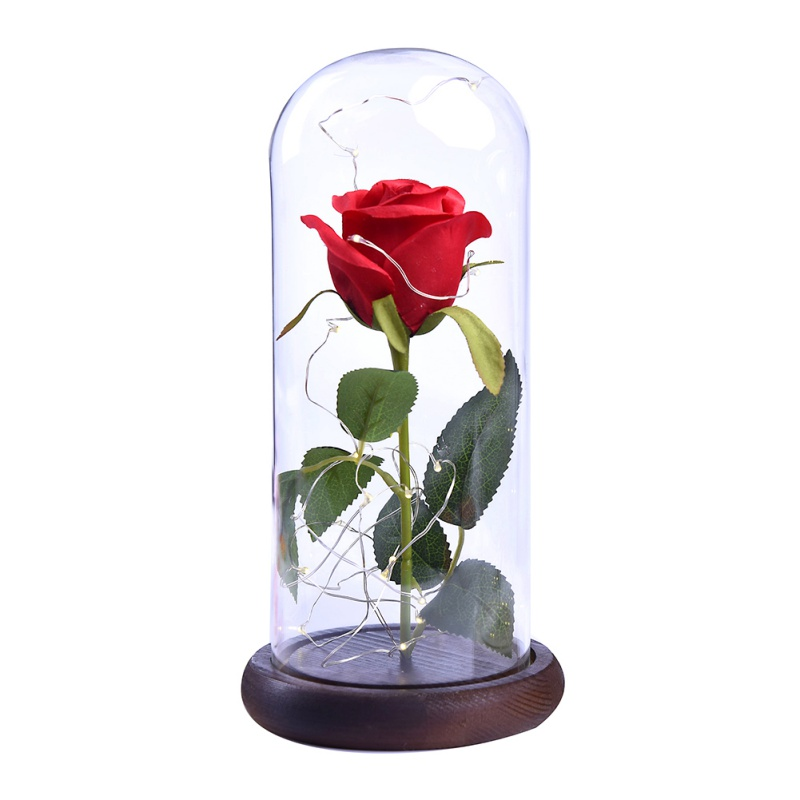 Red Rose In A Gl Dome W Wooden